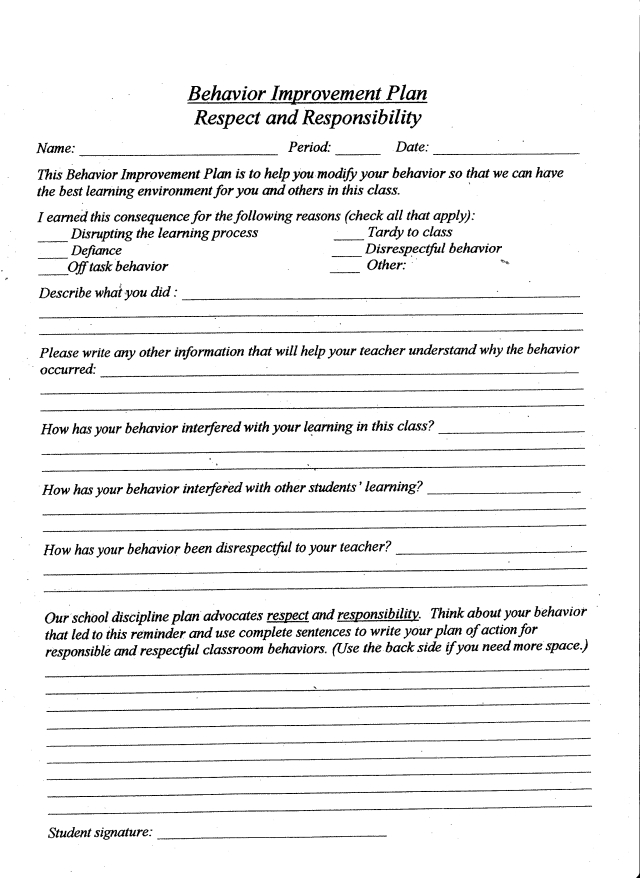 Behavior improvement plan respect and responsiblity for Student improvement plan template