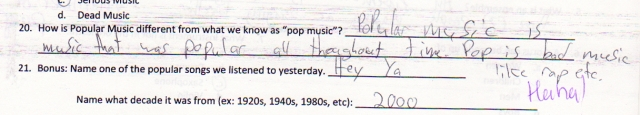 Pop Music as defined by a middle school student.